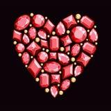 Satz Juwelen in Form von Herzen Edelsteine des roten colo Lizenzfreies Stockfoto