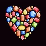 Satz Juwelen in Form von Herzen Edelsteine des Rotes, blau Stockbilder