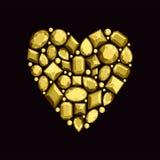 Satz Juwelen in Form von Herzen Edelsteine von Goldcol. Stockfoto