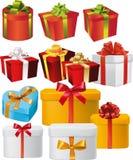 Satz Kästen des Geschenkes mit Bändern und Bögen Stockbilder