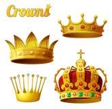 Satz 3 königliche Goldkronen lokalisiert auf Weiß Lizenzfreie Stockfotografie