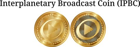 Satz körperliche goldene Münze der interplanetarischen Sendungs-Münze IPBC Stockfotos