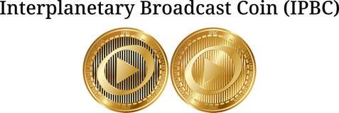 Satz körperliche goldene Münze der interplanetarischen Sendungs-Münze IPBC Lizenzfreies Stockfoto