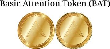 Satz körperliche goldene Münze grundlegende Aufmerksamkeit Schein-SCHLÄGERS, digitales cryptocurrency Grundlegende Aufmerksamkeit vektor abbildung