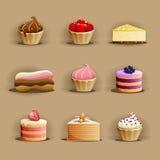 Satz köstliche Kuchen stock abbildung