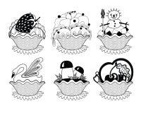 Satz köstliche Kuchen für Tee Lizenzfreie Stockfotografie