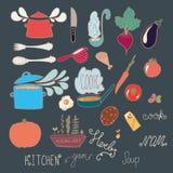 Satz Küchengekritzel Lizenzfreies Stockfoto