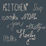 Satz Küchengekritzel Stockbilder