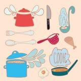 Satz Küchengekritzel Lizenzfreies Stockbild
