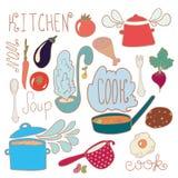 Satz Küchengekritzel Stockfoto