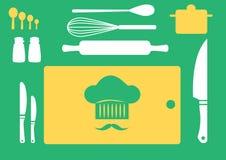 Satz Küchengeräte, Sammlung des Kochgeschirrs, Illustrationen Stockbilder