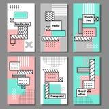 Satz künstlerische bunte Universalkarten Hochzeit, Jahrestag, Geburtstag, Feiertag, Partei stock abbildung