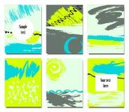 Satz künstlerische kreative Universalkarten Stockbilder