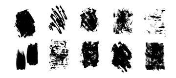 Satz künstlerische schwarze Schmutzhintergründe Vektorvorlage ist- zum Download betriebsbereit Schmutziges künstlerisches Gestalt stockfotos