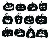 Satz Kürbise Sammlung Kürbisgesichter für Halloween Stilisierte mystische Geschöpfe Schattenbilder von Dämonen Vektor stock abbildung
