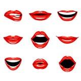 Satz küssende und lächelnde Karikaturlippen des Rotes Lizenzfreie Stockfotografie