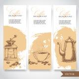 Satz Kaffee-Fahnen Weinlese-Hand gezeichnete Gestaltungselemente Lizenzfreie Stockfotos