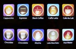 Satz Kaffee-Ikonen, Symbole oder Knöpfe stockbild