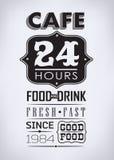 Satz Kaffee, typografische Elemente des Cafés Stockbilder