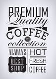 Satz Kaffee, typografische Elemente des Cafés Lizenzfreies Stockbild