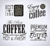 Satz Kaffee, typografische Elemente des Cafés Lizenzfreie Stockfotos