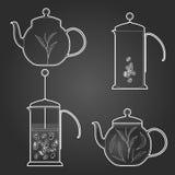 Satz Kaffee und Tee Auch im corel abgehobenen Betrag Stockfotografie