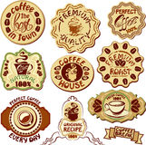Satz Kaffeeaufkleber - übergeben Sie gezogene Ikonen der Schale und Lizenzfreies Stockfoto