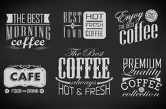 Satz Kaffeeaufkleber Lizenzfreies Stockbild
