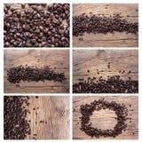 Satz Kaffeebohnen auf hölzernem Hintergrund Stockfotografie