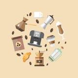 Satz Kaffeegeräte in der flachen Art Lizenzfreie Stockbilder
