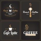 Satz Kaffeestubeausweise und -aufkleber lizenzfreie abbildung