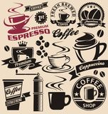 Satz Kaffeesymbole und -ikonen Lizenzfreies Stockbild