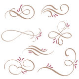 Satz Kalligraphie Flourishkunst mit Weinlese dekorativen Whorls für Design Vektorabbildung EPS10 stock abbildung