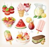 Satz kaltes süßes Sommerlebensmittel Stockfoto