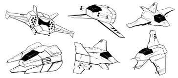 Satz Kampfraumschiffe Illustration 2 stock abbildung