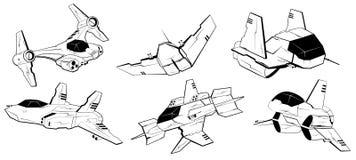 Satz Kampfraumschiffe Vektorillustration 5 lizenzfreie abbildung