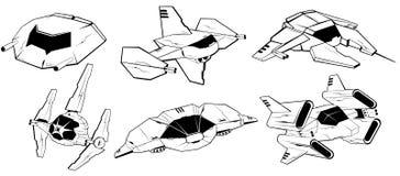 Satz Kampfraumschiffe Vektorillustration 4 lizenzfreie abbildung