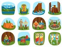Satz kampierende Ausrüstungssymbole und Ferien des Ikonensommers im Freien vector Illustration Lizenzfreies Stockbild