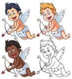 Satz Karikatur-Amor-Charaktere mit Pfeil und Bogen Stockbilder