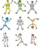 Satz Karikatur-Skelett-Vektoren stock abbildung