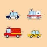 Satz Karikaturautos: Polizeiwagen, Krankenwagen, Feuerwehrmann-LKW, Taxi Stockfoto