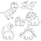 Satz Karikaturdinosaurier Lizenzfreies Stockfoto
