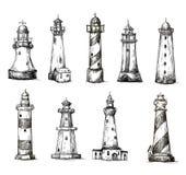 Satz Karikaturleuchttürme. Ikonen. Bleistift-Zeichnung  Lizenzfreie Stockbilder