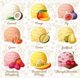 Satz Karikaturvektorikonen auf weißem Hintergrund Kokosnuss, Mango, Feige, Guave, Durian, Jackfruit, Erdbeere und Lizenzfreies Stockfoto