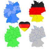Satz Karte und Herz Deutschlands 3D lokalisiert auf einem weißen Hintergrund Lizenzfreies Stockbild