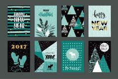 Satz Karten der künstlerischen kreativen frohen Weihnachten und des neuen Jahres Lizenzfreie Stockbilder