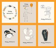 Satz Karten Kawaii Halloween vektor abbildung