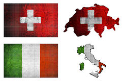 Satz Karten und Flaggen von Italien und von Schweiz Stockbild