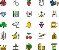 Satz Kasino- und Spielikonen Stockbilder