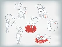 Satz Katzen mit Herzen für Valentinsgruß-Tag Abbildung des Vektor EPS10 Stockfotografie